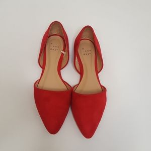 Red Suede Flats Size 6